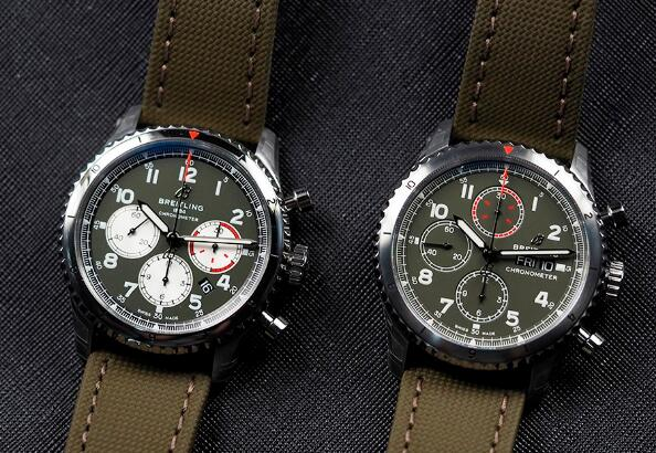 The green dials endow these two watches the military style.